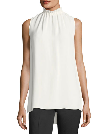 Percy Sleeveless Silk Blouse, Plus Size