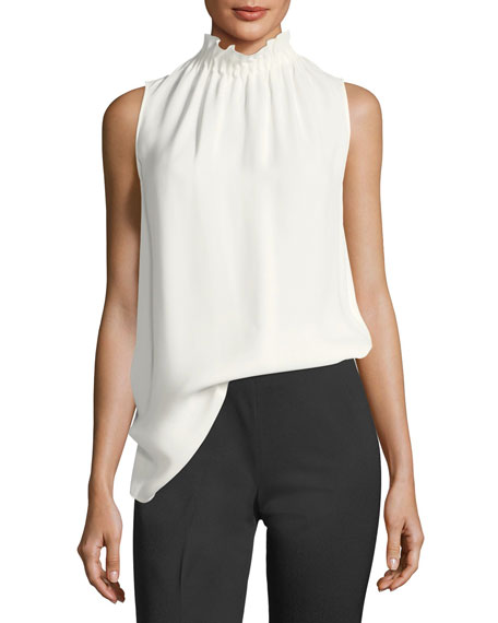 Percy Sleeveless Silk Blouse, Plus Size