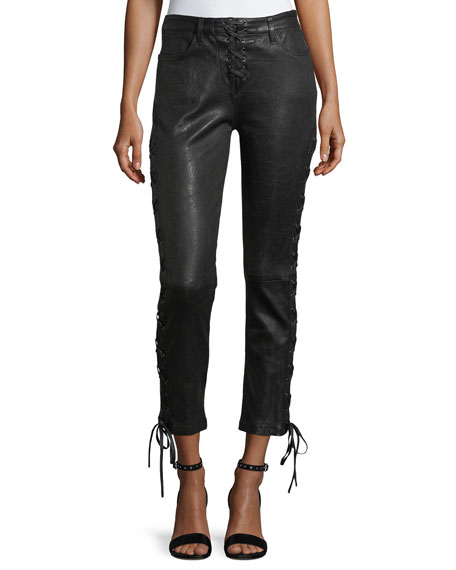 FRAME Lace-Up Crop Lamb Leather Pants