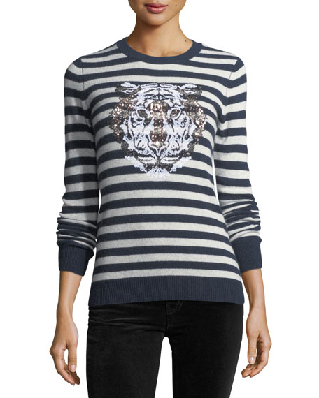Striped Sequin Tiger Crewneck Cashmere Sweater