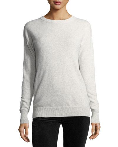Long-Sleeve Crossover-Back Sweater w/ Velvet Tie