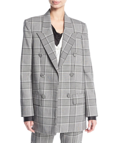 Alexander Wang Plaid Double-Breasted Blazer