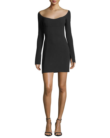 Alexander Wang Illusion Scoop-Neck Long-Sleeve Minidress