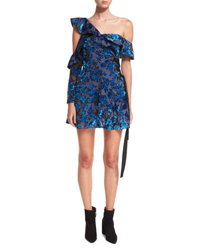 One-Shoulder Eyelet Devoré Wrap Mini Dress