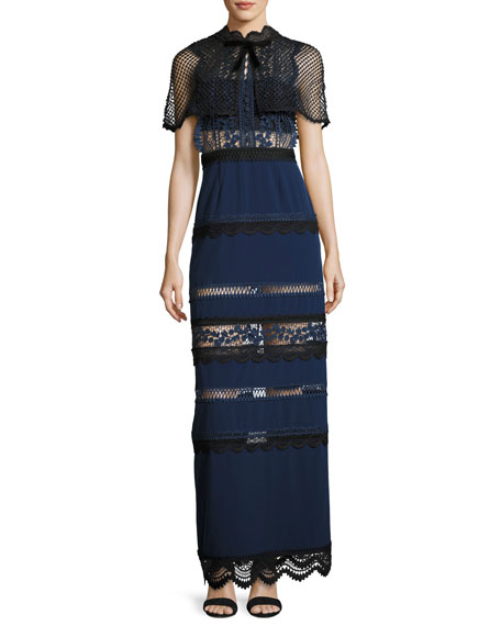 Self-Portrait Bellis Lace Crepe Cape Maxi Dress