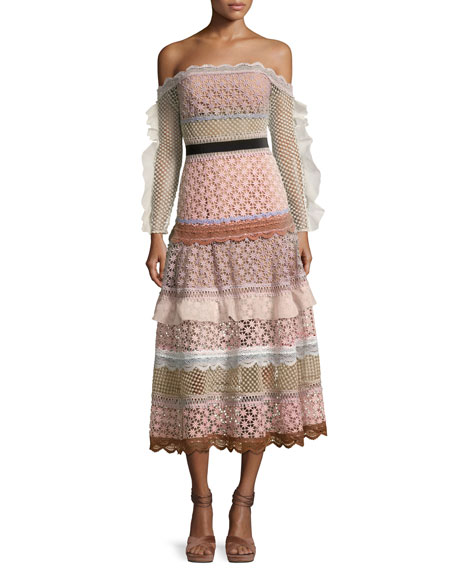 Self-Portrait Bellis Off-the-Shoulder Lace-Trim Midi Dress