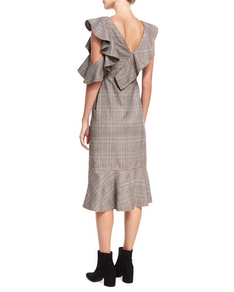 O-Ring Wool-Check Midi Wrap Dress w/ Asymmetric Frill