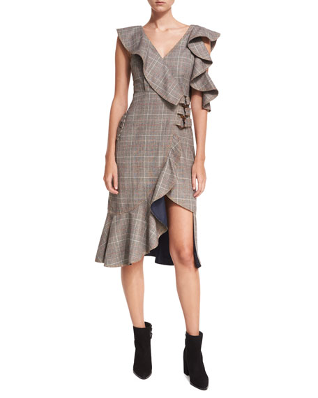 Self-Portrait O-Ring Wool-Check Midi Wrap Dress w/ Asymmetric