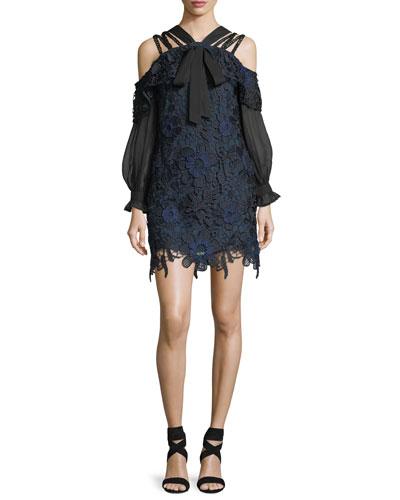 3D Cold-Shoulder Floral Lace Mini Dress
