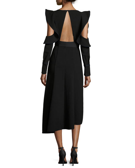 Asymmetric Belted Faux-Wrap Crepe Dress w/ Cutouts