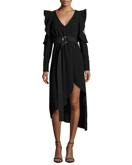 Self-Portrait Asymmetric Belted Faux-Wrap Crepe Dress w/ Cutouts