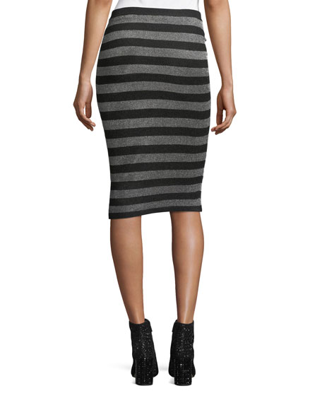 Lurex Striped Knit Pencil Skirt