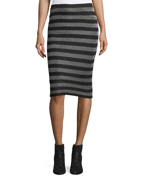 Alexander Wang Lurex Striped Knit Pencil Skirt and