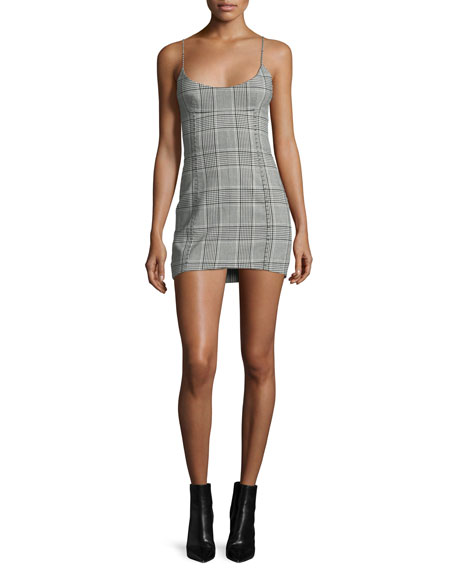 Alexander Wang Plaid Scoop-Neck Minidress