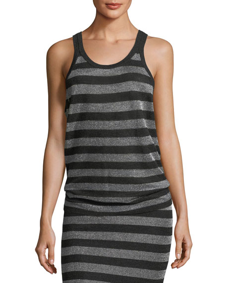 Alexander Wang Lurex Striped Knit Tank Top