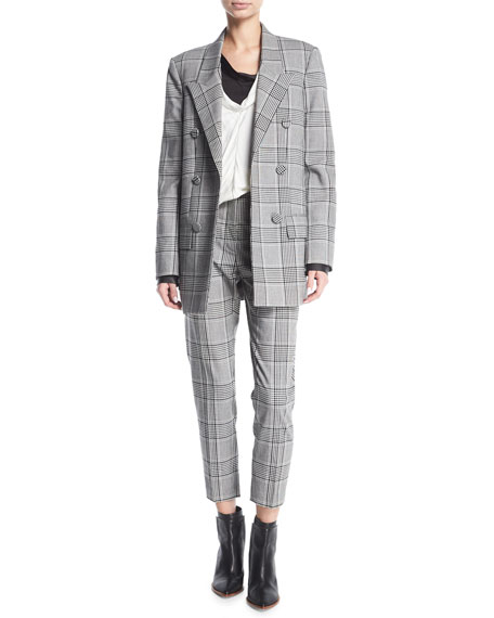Plaid High-Waist Cigarette Pants