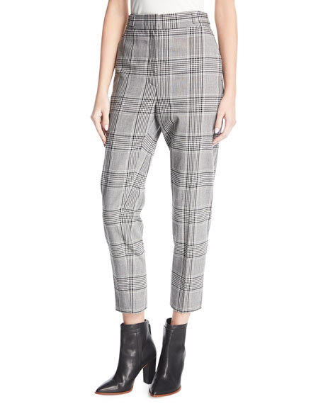 Alexander Wang Plaid High-Waist Cigarette Pants