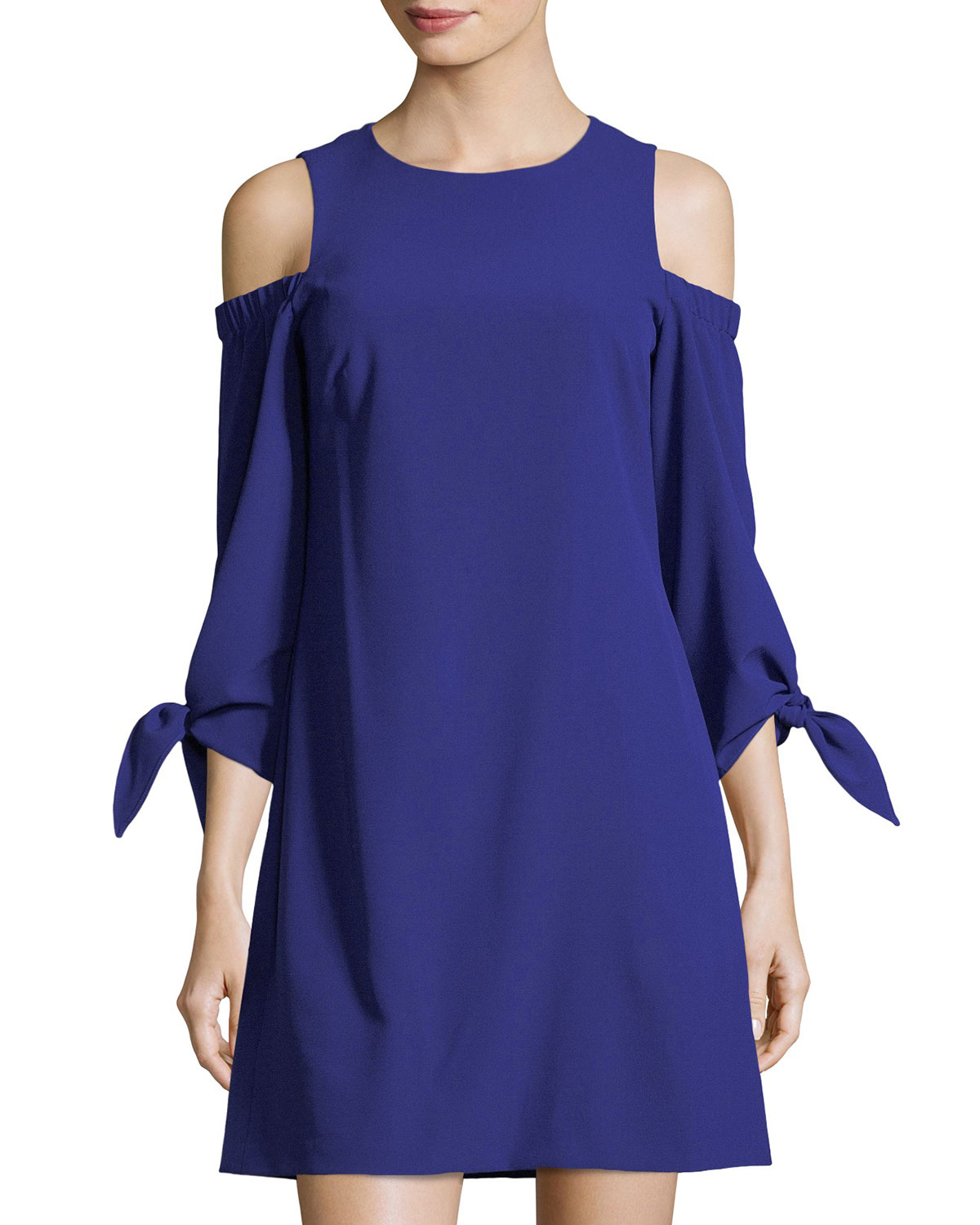 a5f91f93 Eliza J Cold-Shoulder Shift Dress | Neiman Marcus