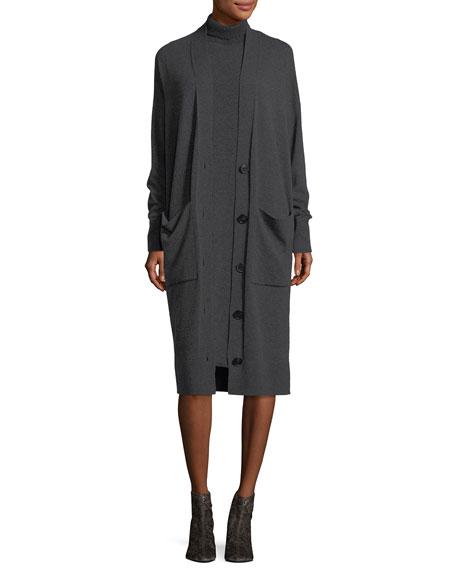 Vanise Sleeveless Superfine Wool Sweaterdress , Plus Size
