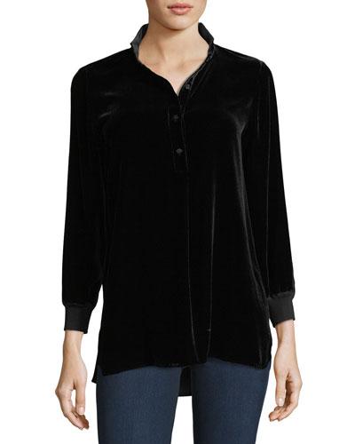 Declan 3/4-Sleeve Velvet Blouse, Plus Size