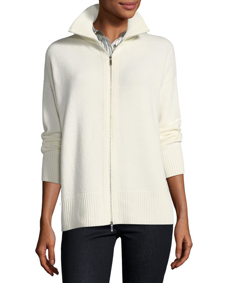 Zip-Front Cashmere Sweater, Plus Size