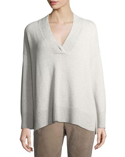 Vanise Oversized V-Neck Cashmere Sweater, Plus Size