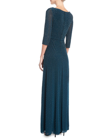 V-Neck 3/4-Sleeve Beaded Evening Gown