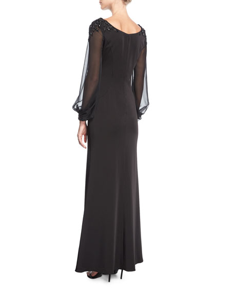 Boat-Neck Illusion Long-Sleeve Evening Gown w/ Beaded Trim