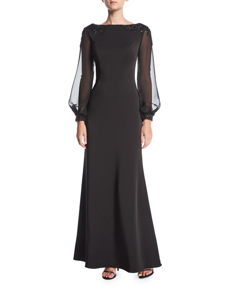 La Femme Boat-Neck Illusion Long-Sleeve Evening Gown w/