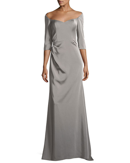 Elbow-Sleeve Sweetheart-Neck Evening Gown