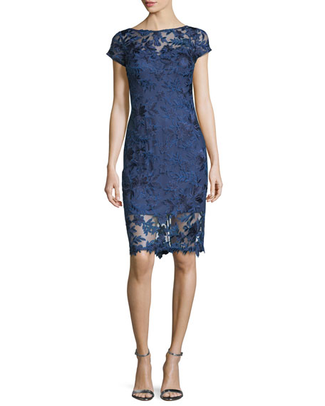 High-Neck Short-Sleeve Lace Cocktail Dress