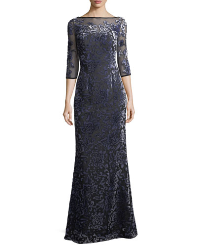 Velvet Burnout Elbow-Sleeve Evening Gown