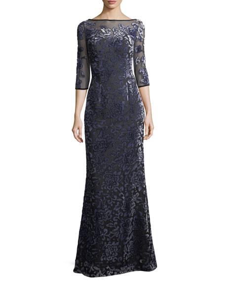 La Femme Velvet Burnout Elbow-Sleeve Evening Gown