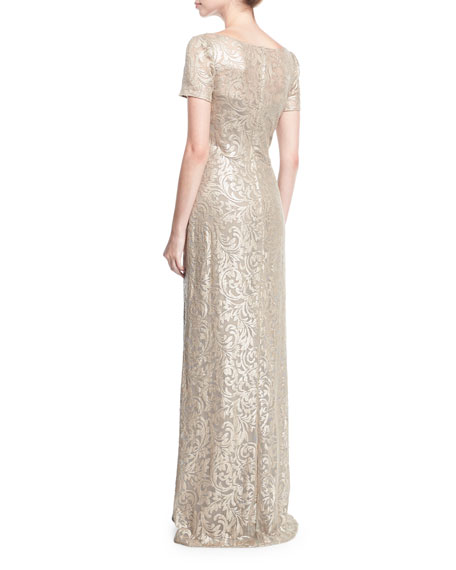 Boat-Neck Short-Sleeve Lace Embroidered Evening Gown