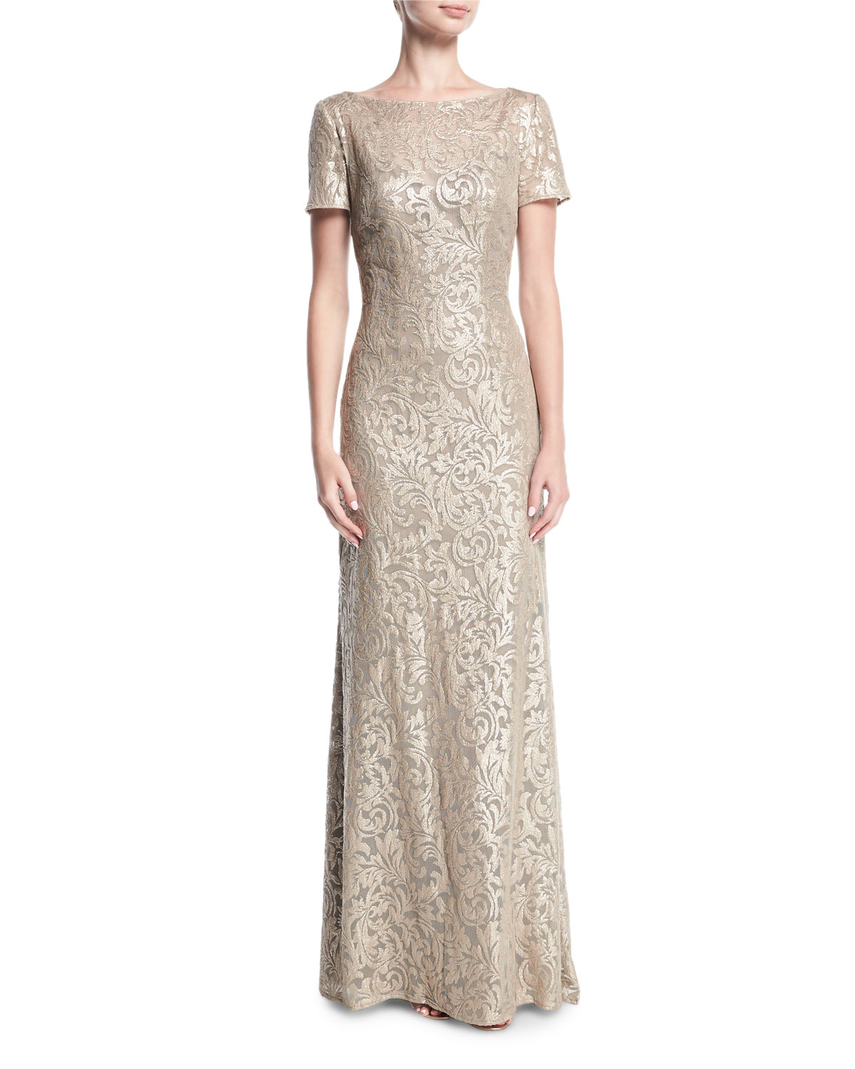 La Femme Boat Neck Short Sleeve Lace Embroidered Evening Gown