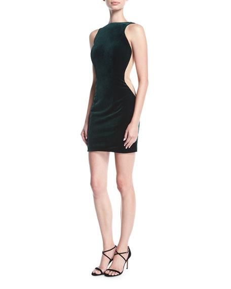 Halter Low-Back Sleeveless Velvet Cocktail Dress