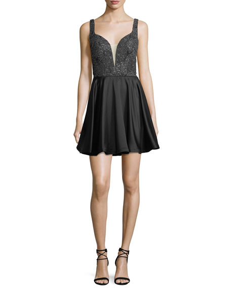 Sleeveless Fit-and-Flare Embellished Satin Cocktail Dress