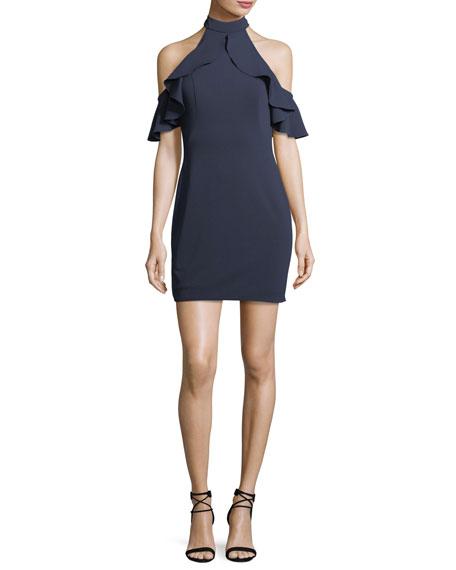 Cold-Shoulder Open-Back Mini Jersey Cocktail Dress