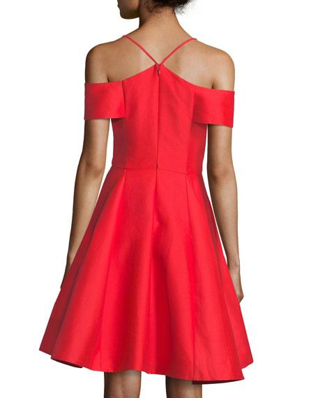 Cold-Shoulder V-Neck Silk Faille Cocktail Dress