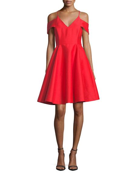Halston Heritage Cold-Shoulder V-Neck Silk Faille Cocktail Dress