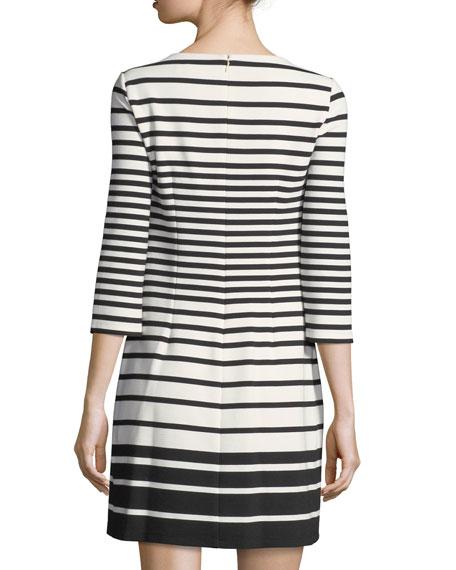 3/4-Sleeve Striped Shift Dress