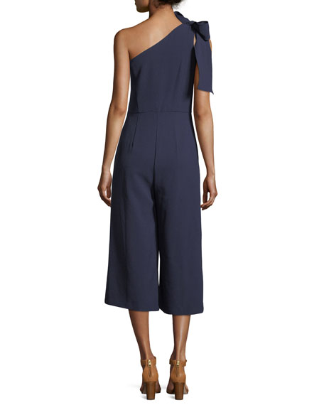 One-Shoulder Cropped Jumpsuit, Navy