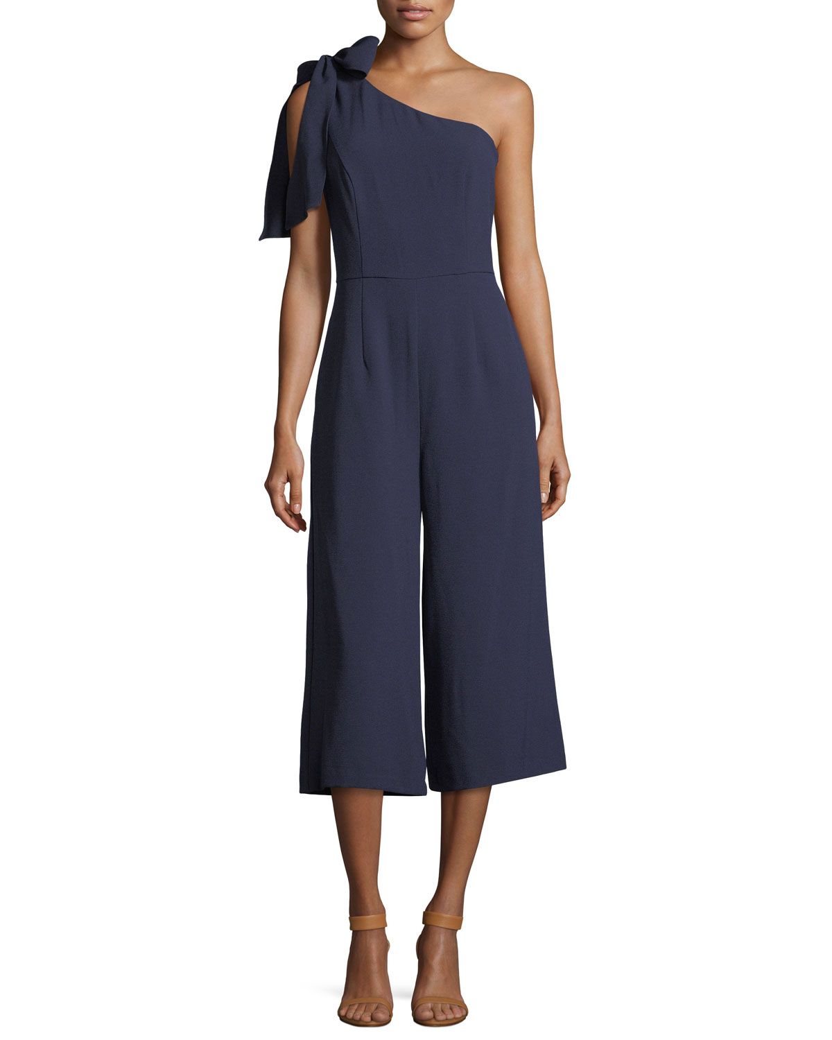 Julia Jordan One Shoulder Cropped Jumpsuit Navy Neiman