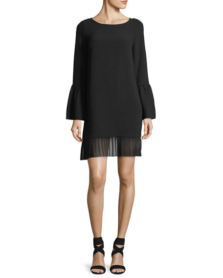 Pleated-Hem Crepe Shift Dress