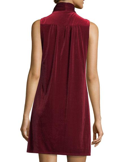 Tie-Neck Velvet Shift Dress