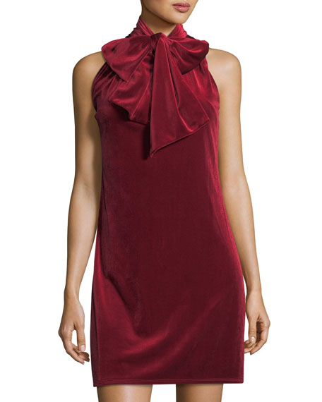 Laundry by Shelli Segal Tie-Neck Velvet Shift Dress