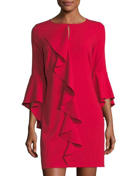Laundry By Shelli Segal Asymmetric Ruffle Keyhole Mini