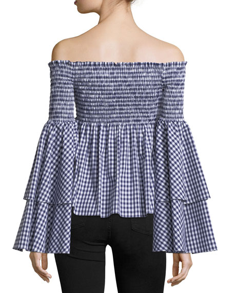 Appolonia Off-the-Shoulder Gingham Cotton Top