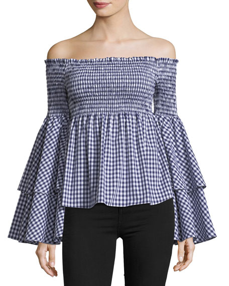 Caroline Constas Appolonia Off-the-Shoulder Gingham Cotton Top
