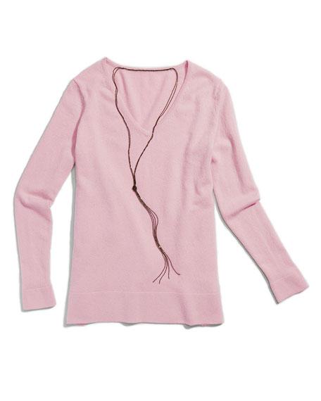 Cashmere V-Neck Pullover w/ Chain Necklace